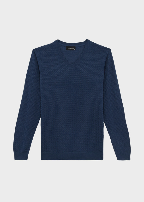 Pull en coton mélangé à col V uni bleu indigo - Father and Sons 40082