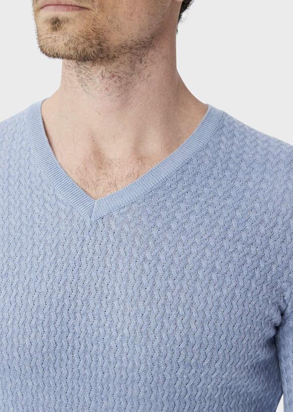 Pull en coton mélangé à col V uni bleu ciel - Father and Sons 39941