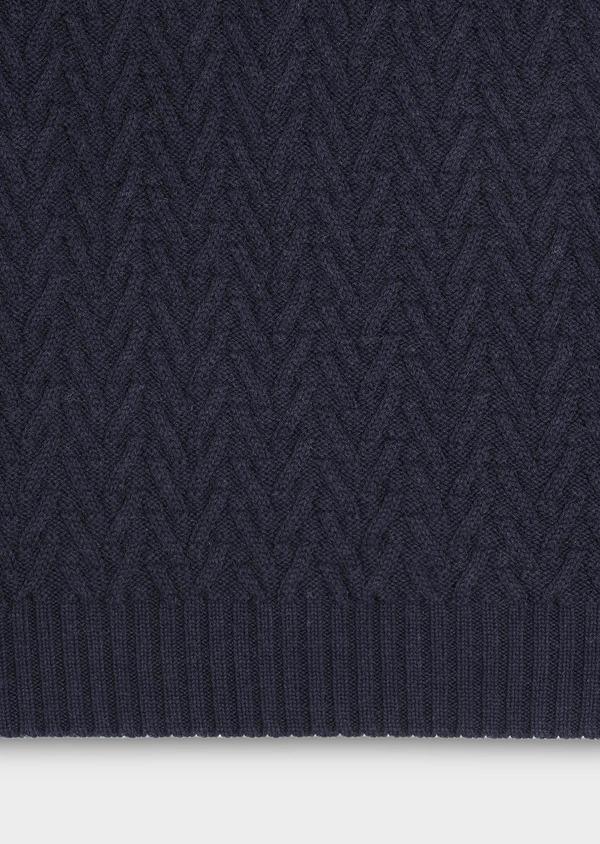 Pull en coton mélangé col châle uni bleu marine - Father and Sons 30823