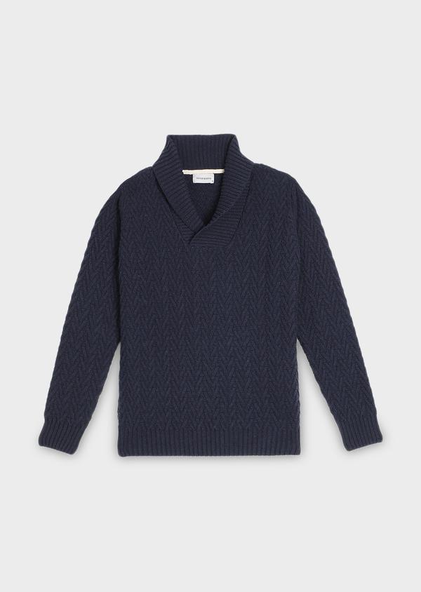 Pull en coton mélangé col châle uni bleu marine - Father and Sons 30822