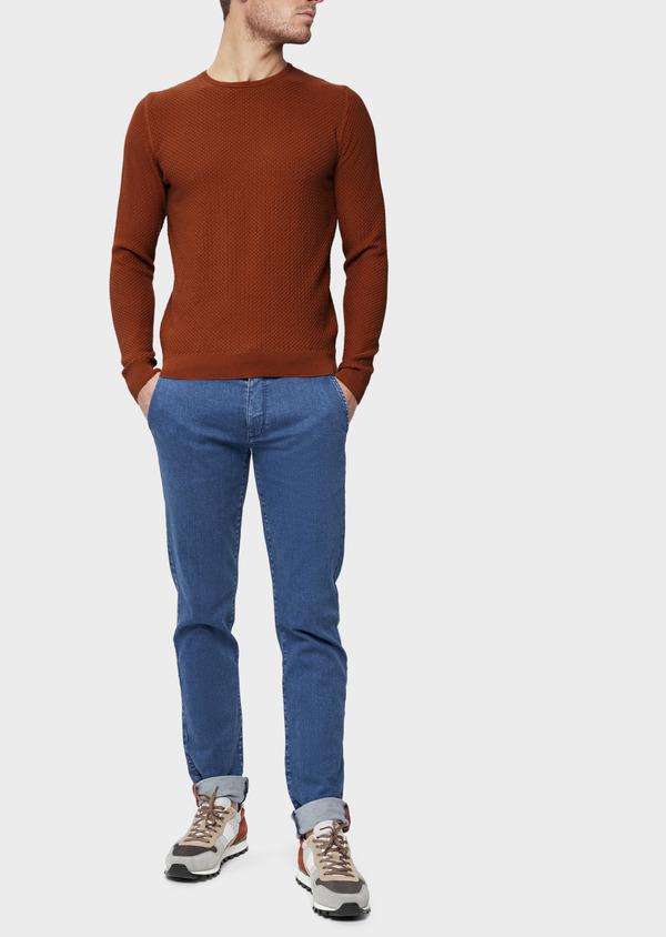 Pull en coton à col rond uni orange foncé - Father and Sons 39407