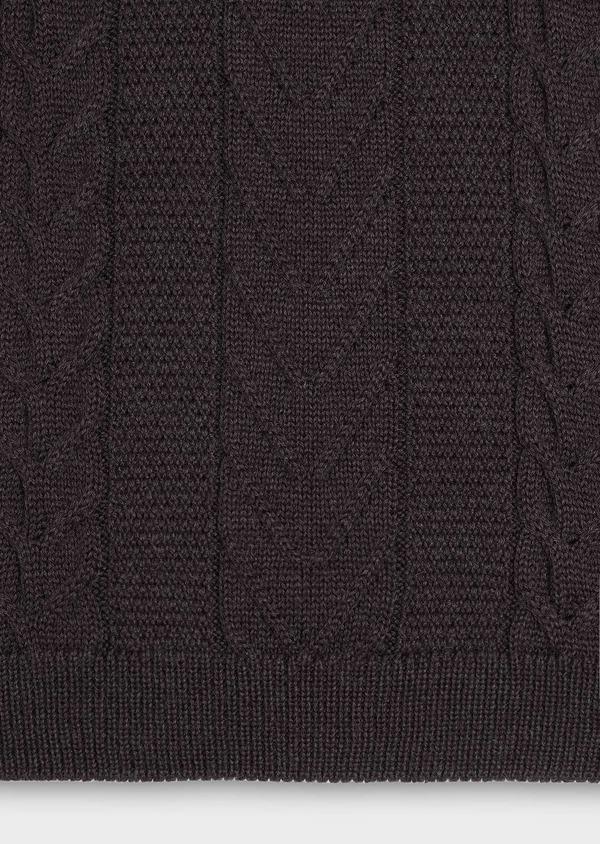 Pull en laine mérinos col montant zippé uni marron foncé - Father and Sons 30829