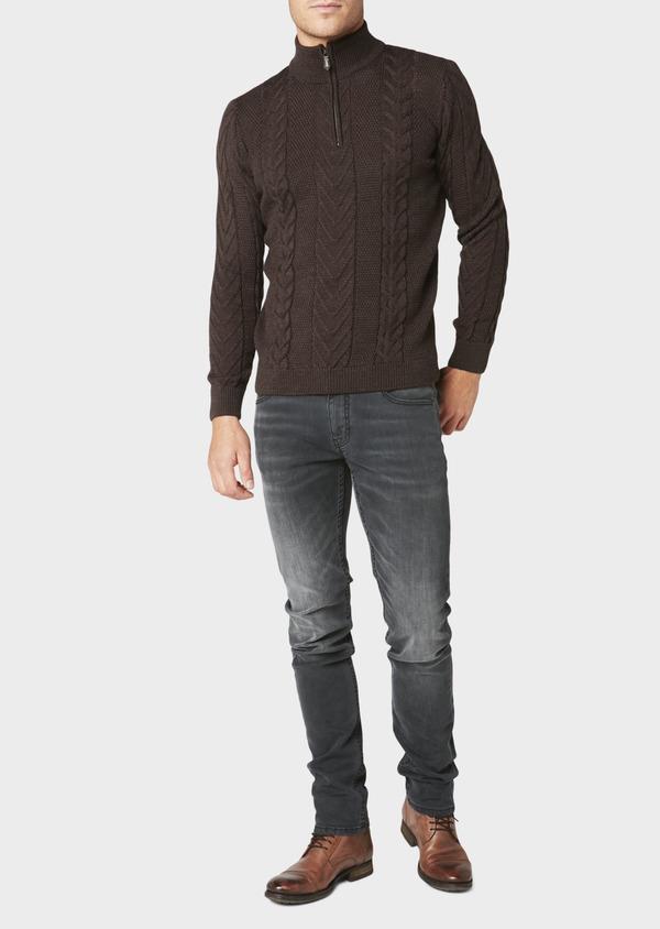Pull en laine mérinos col montant zippé uni marron foncé - Father and Sons 30830