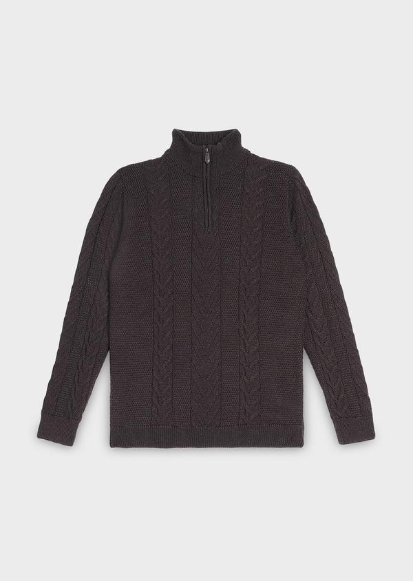 Pull en laine mérinos col montant zippé uni marron foncé - Father and Sons 30828