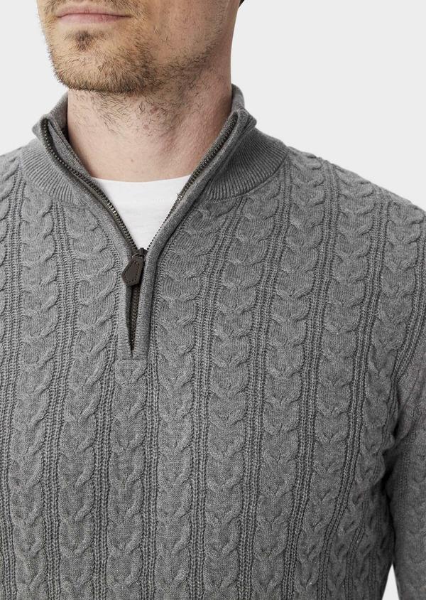 Pull en coton à col zippé uni gris - Father and Sons 39936
