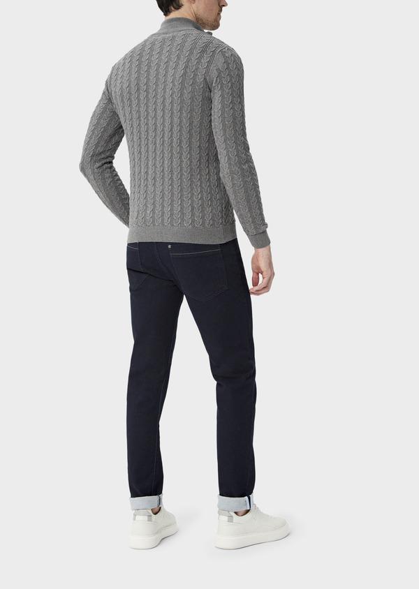 Pull en coton à col zippé uni gris - Father and Sons 39935