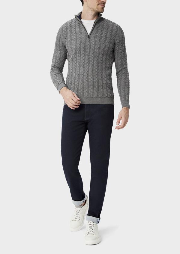 Pull en coton à col zippé uni gris - Father and Sons 39934