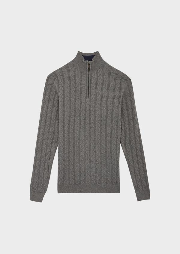 Pull en coton à col zippé uni gris - Father and Sons 39932