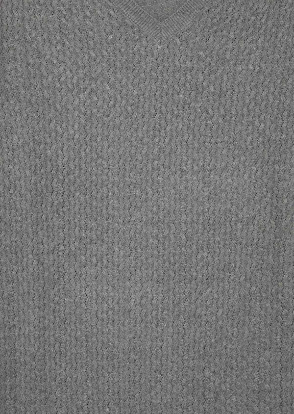 Pull en coton mélangé à col V uni gris - Father and Sons 38846