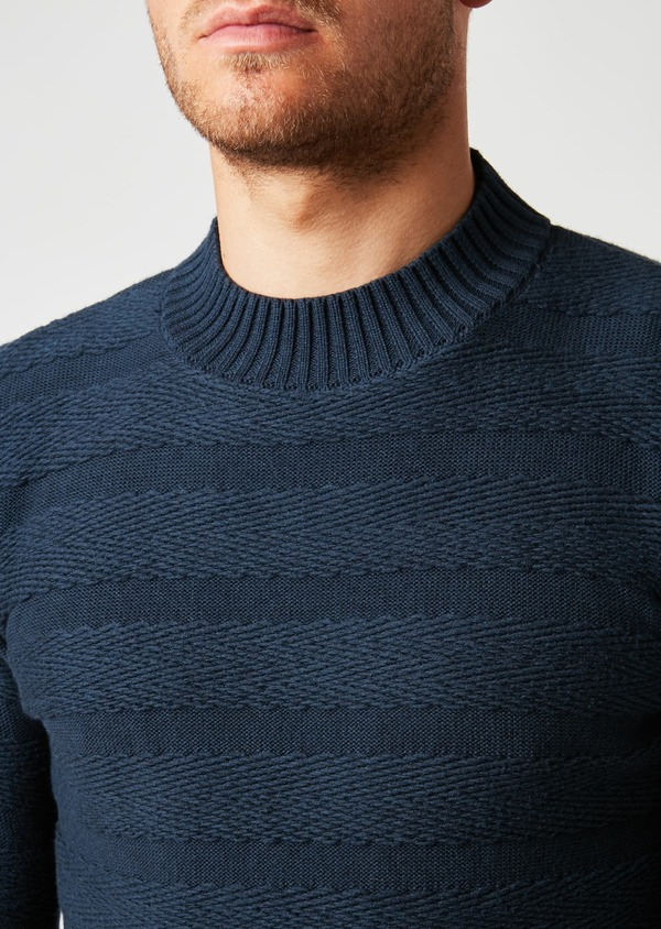 Pull en coton mélangé col rond uni bleu indigo - Father and Sons 27023