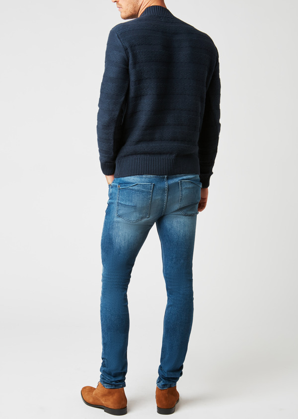 Pull en coton mélangé col rond uni bleu indigo - Father and Sons 27022
