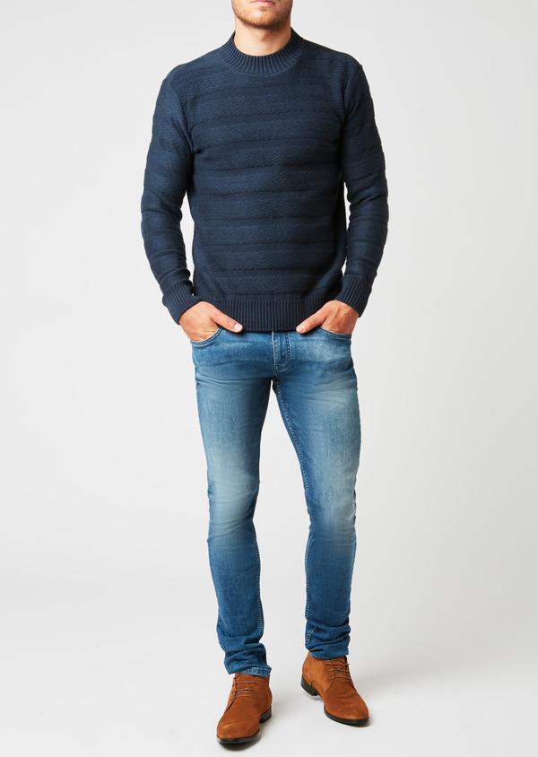 Pull en coton mélangé col rond uni bleu indigo - Father and Sons 27021