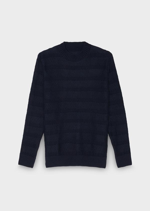 Pull en coton mélangé col rond uni bleu indigo - Father and Sons 27019