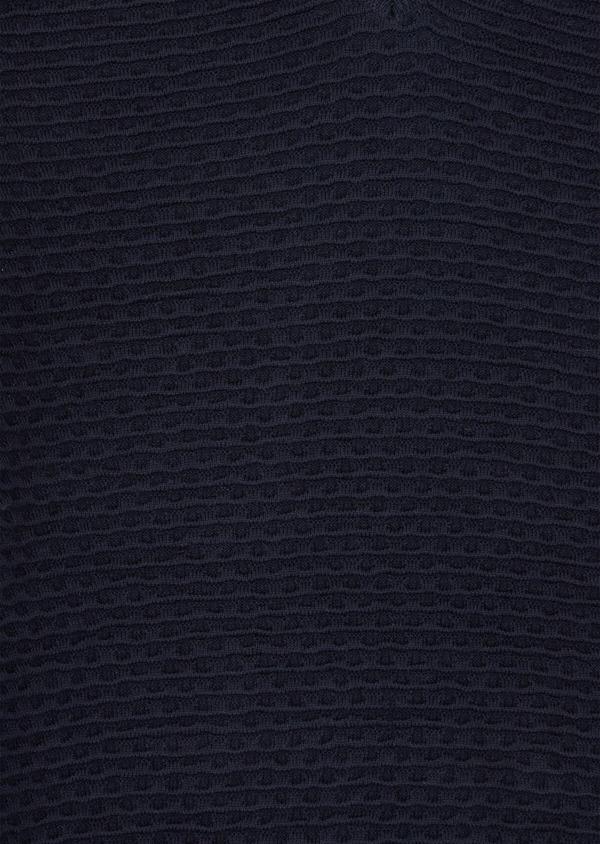 Pull en coton à col V uni bleu marine - Father and Sons 38858
