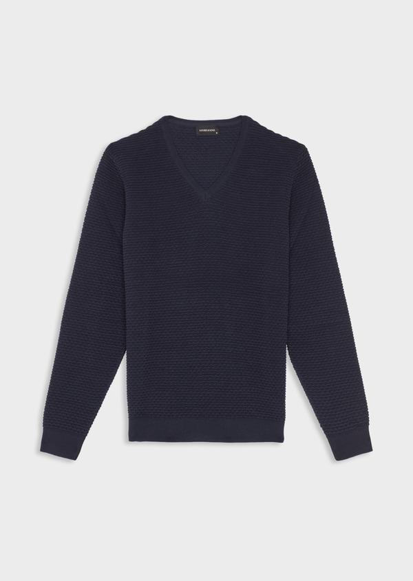 Pull en coton à col V uni bleu marine - Father and Sons 38857