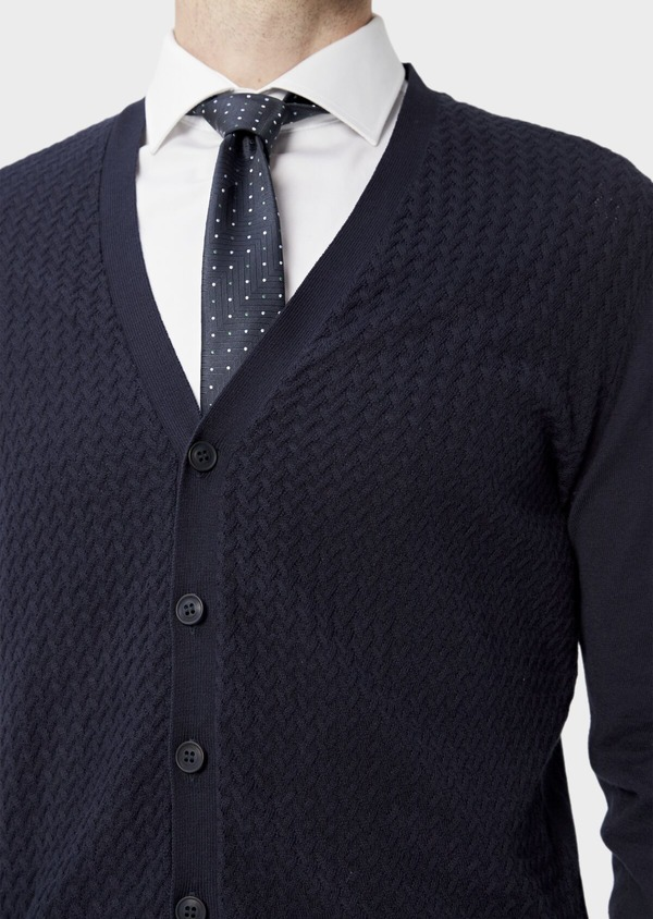 Cardigan en coton uni marine - Father and Sons 38866