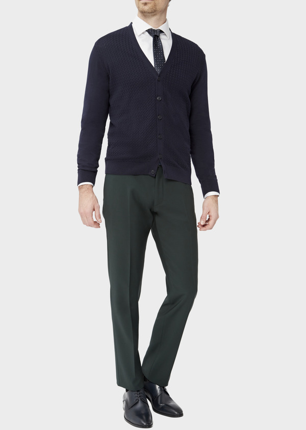 Cardigan en coton uni marine - Father and Sons 38864