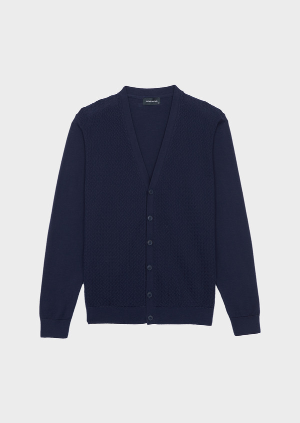 Cardigan en coton uni marine - Father and Sons 38862
