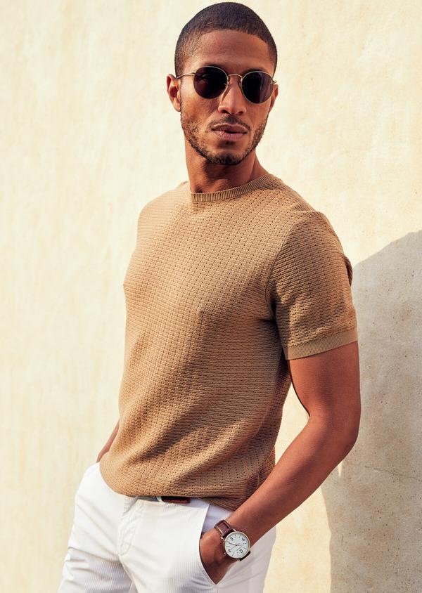 Pull en coton à manches courtes et à col rond uni camel - Father and Sons 40588