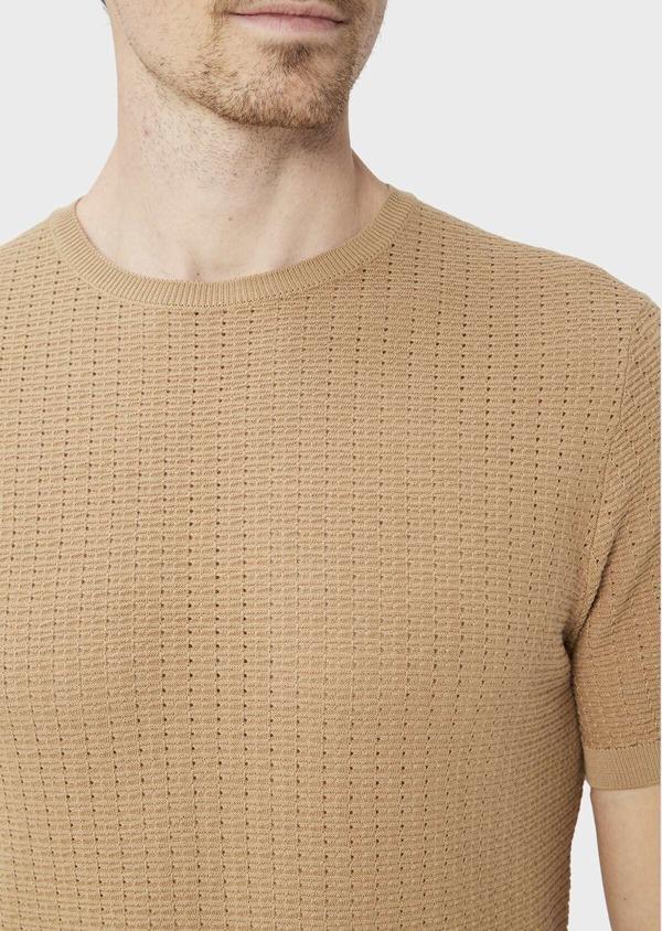 Pull en coton à manches courtes et à col rond uni camel - Father and Sons 40593