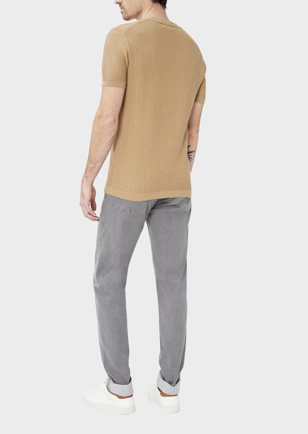 Pull en coton à manches courtes et à col rond uni camel - Father and Sons 40592