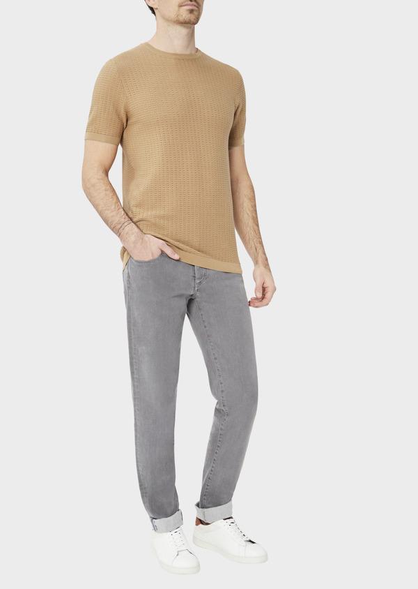 Pull en coton à manches courtes et à col rond uni camel - Father and Sons 40591