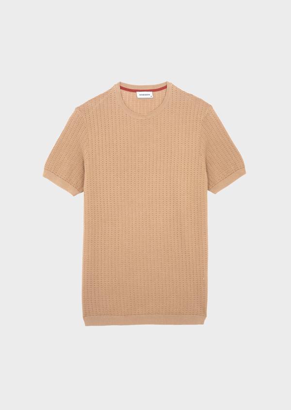 Pull en coton à manches courtes et à col rond uni camel - Father and Sons 40589