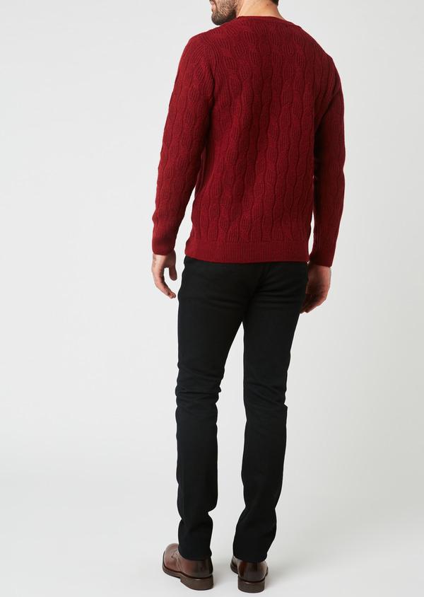 Pull en laine mérinos col rond uni bordeaux - Father and Sons 28099