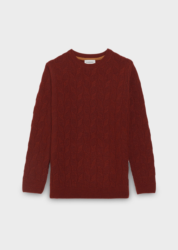 Pull en laine mérinos col rond uni bordeaux - Father and Sons 28096