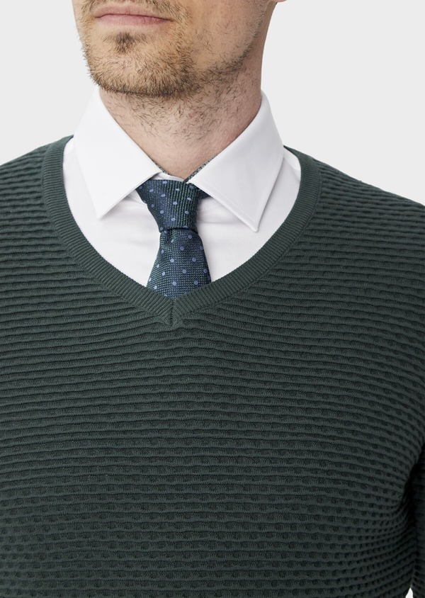 Pull en coton à col V uni vert - Father and Sons 39946