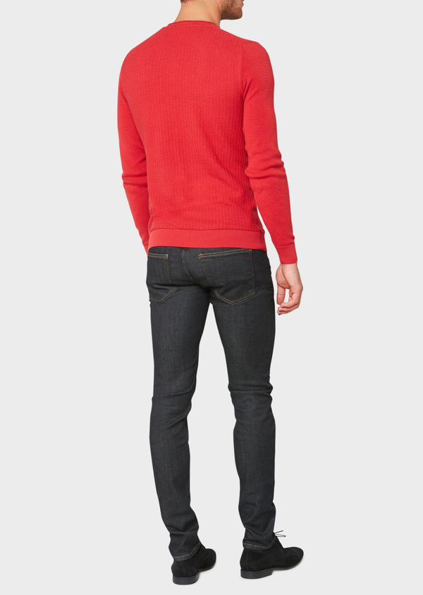 Pull en coton col V uni rouge - Father and Sons 33493