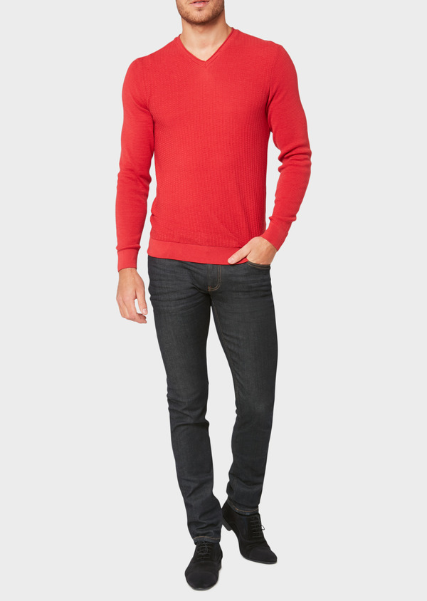 Pull en coton col V uni rouge - Father and Sons 33492