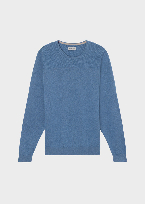 Pull en coton col rond uni bleu - Father and Sons 34040
