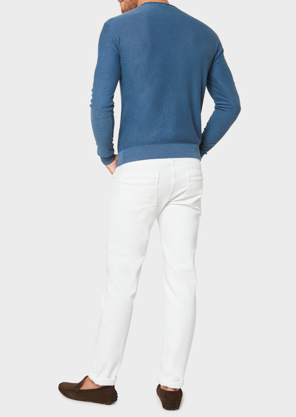 Pull en coton col rond uni bleu - Father and Sons 33501