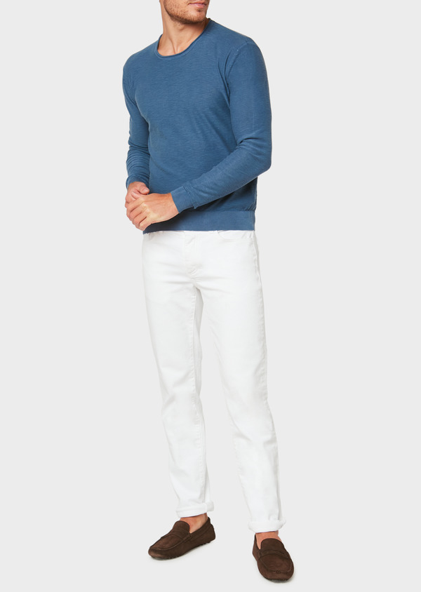 Pull en coton col rond uni bleu - Father and Sons 33500