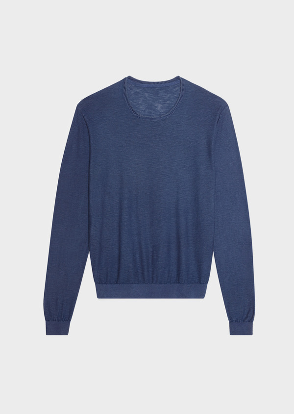 Pull en coton col rond uni bleu - Father and Sons 33498