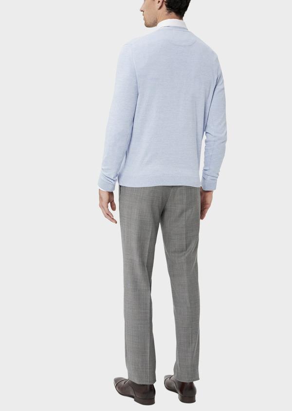 Pull en coton col V uni bleu ciel - Father and Sons 34537