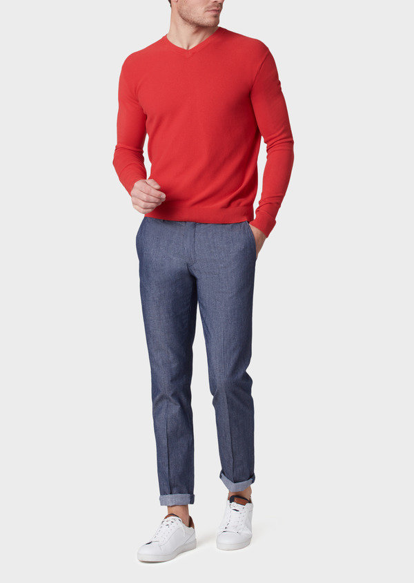 Pull en coton col V uni rouge - Father and Sons 34055