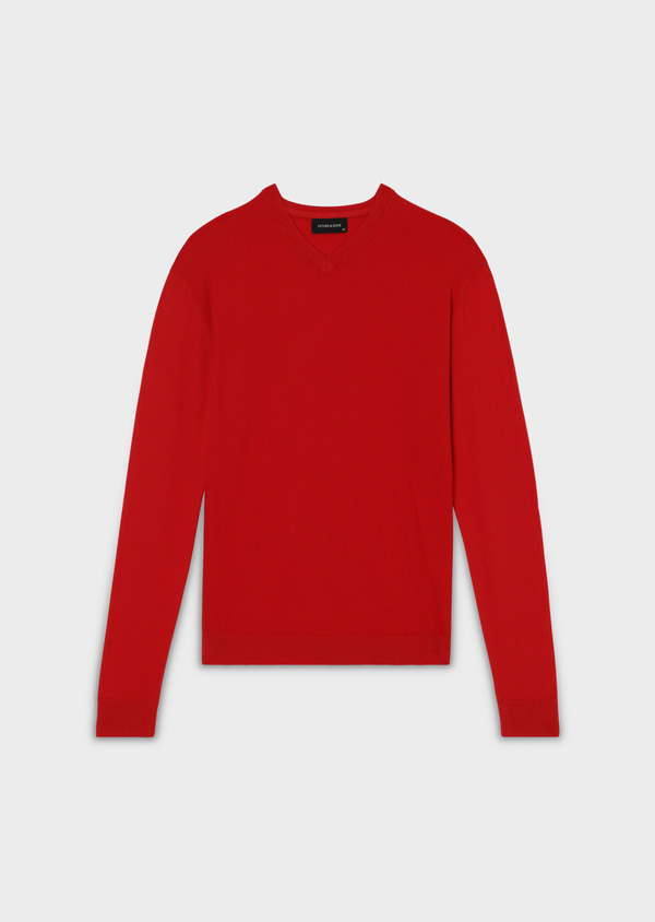 Pull en coton col V uni rouge - Father and Sons 34053