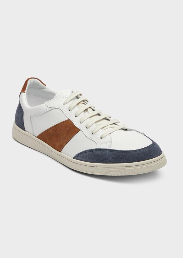Baskets basses en cuir blanc avec empiècements bleu et cognac - Father and Sons 38985