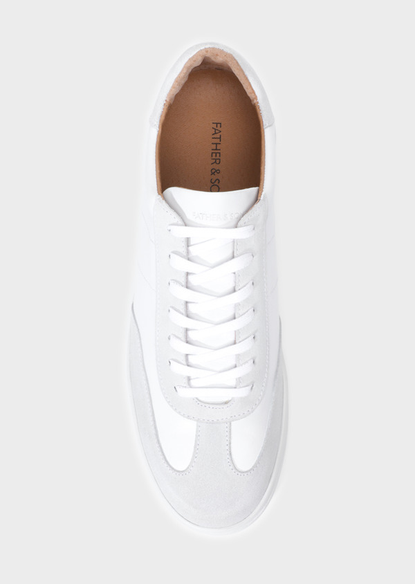 Baskets basses en cuir lisse blanc - Father and Sons 35506