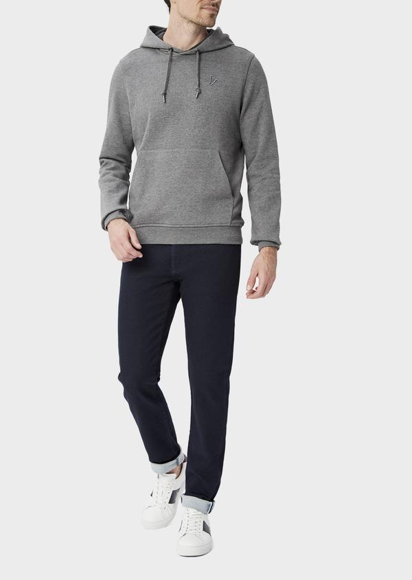 Sweat en coton mélangé gris à capuche - Father and Sons 39949