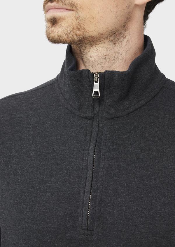 Sweat en coton mélangé col zippé uni gris anthracite - Father and Sons 37052