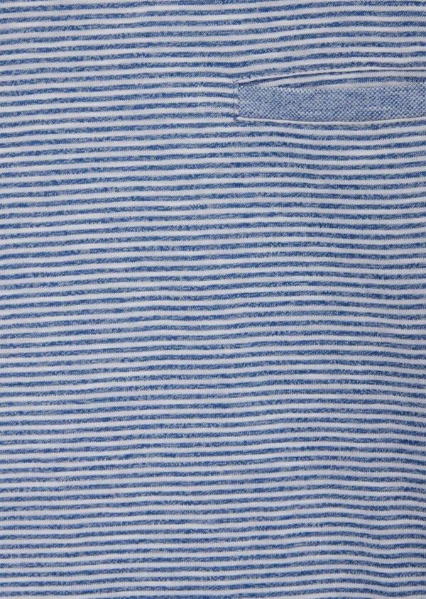 Tee-shirt manches courtes en coton mélangé bleu col rond à rayures - Father and Sons 39259