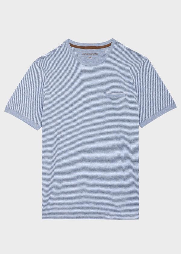 Tee-shirt manches courtes en coton mélangé bleu col rond à rayures - Father and Sons 39258