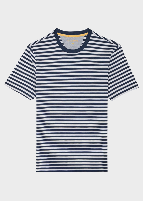 Tee-shirt manches courtes en coton bleu col rond à rayures - Father and Sons 39419