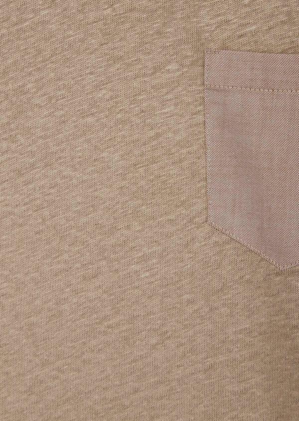 Tee-shirt manches courtes en lin col V uni beige foncé - Father and Sons 39426