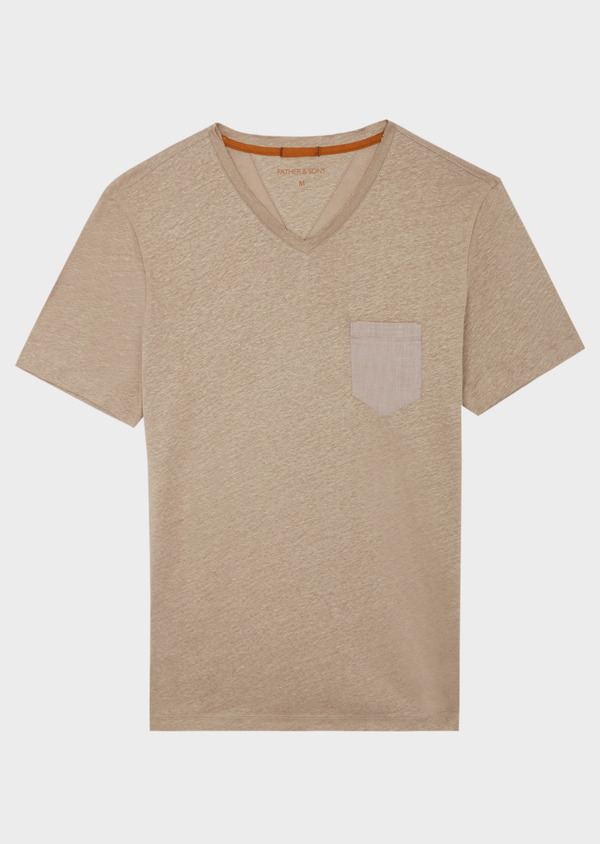 Tee-shirt manches courtes en lin col V uni beige foncé - Father and Sons 39425