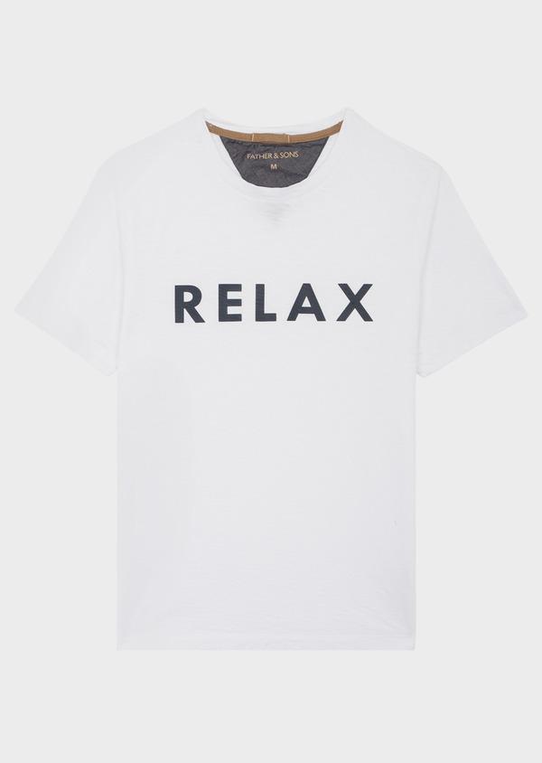 Tee-shirt manches courtes en coton col rond blanc à imprimé - Father and Sons 39416