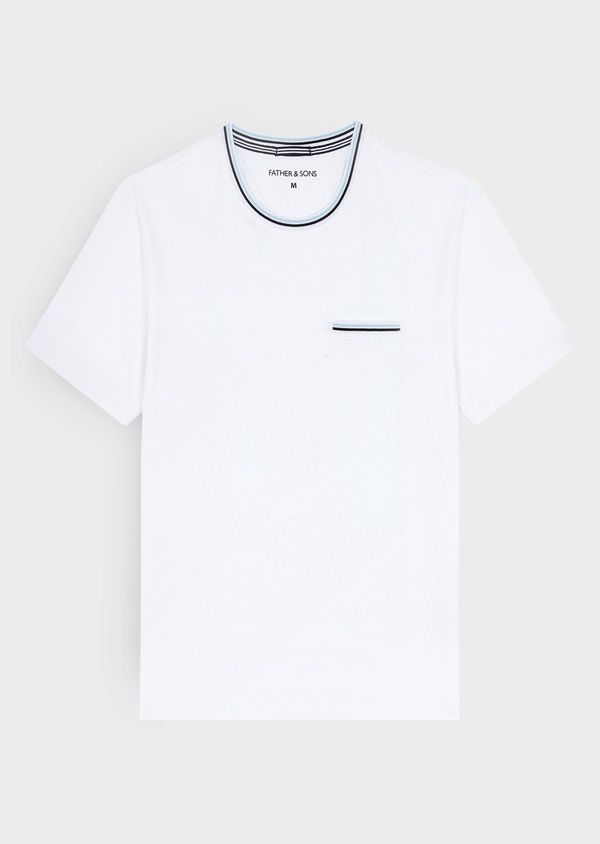 Tee-shirt manches courtes en coton uni col rond blanc - Father and Sons 40447